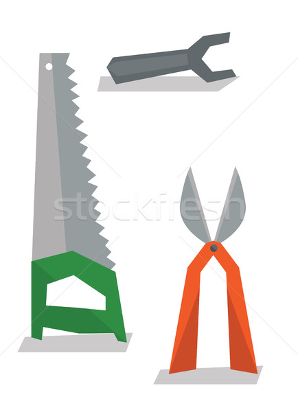 Saw, pruner and wrench vector illustration. Stock photo © RAStudio