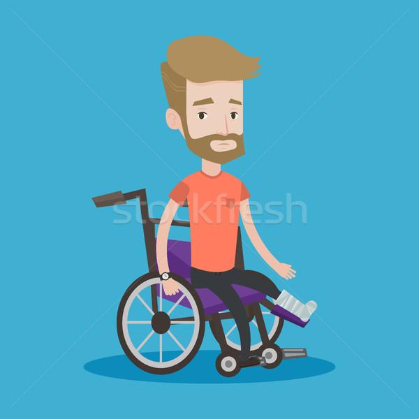 Homme jambe cassée séance fauteuil roulant blessés jambe Photo stock © RAStudio