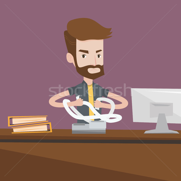 Angry businessman tearing bills or invoices. Stock photo © RAStudio