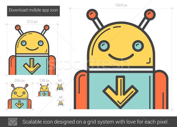 Letöltés mobil app vonal ikon vektor Stock fotó © RAStudio