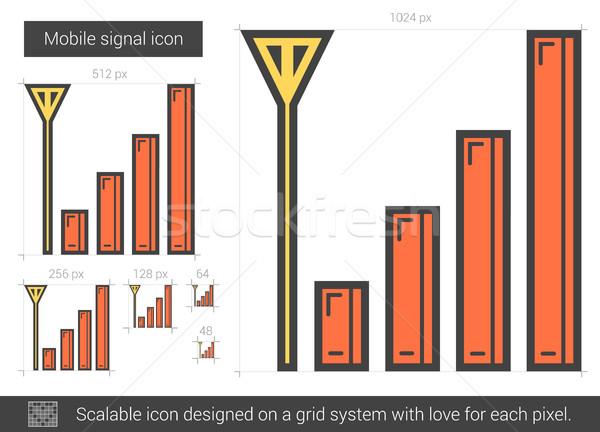 Mobiles signal ligne icône vecteur isolé Photo stock © RAStudio