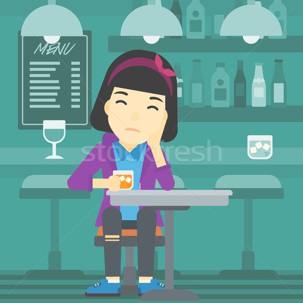 женщину питьевой Бар азиатских печально сидят Сток-фото © RAStudio