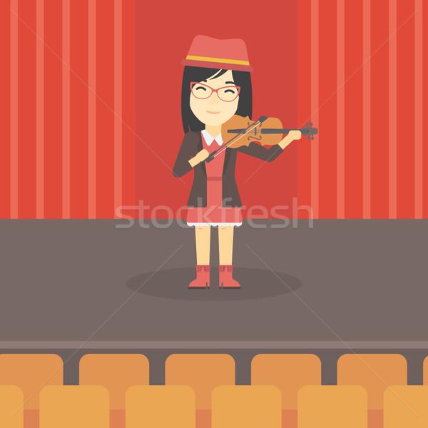 Vrouw spelen viool asian jonge vrouw violist Stockfoto © RAStudio
