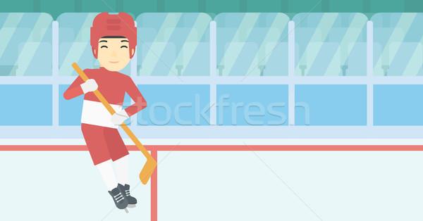 Jégkorong játékos bot ázsiai női korcsolyázás Stock fotó © RAStudio