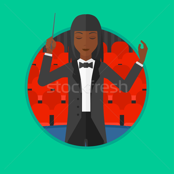 Conductor directing with baton vector illustration Stock photo © RAStudio