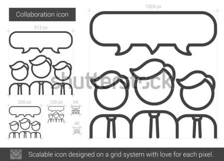 Colaboração linha ícone vetor isolado branco Foto stock © RAStudio
