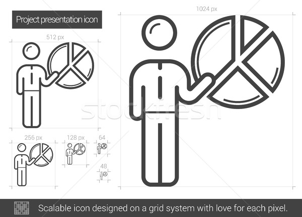 проект презентация линия икона вектора изолированный Сток-фото © RAStudio