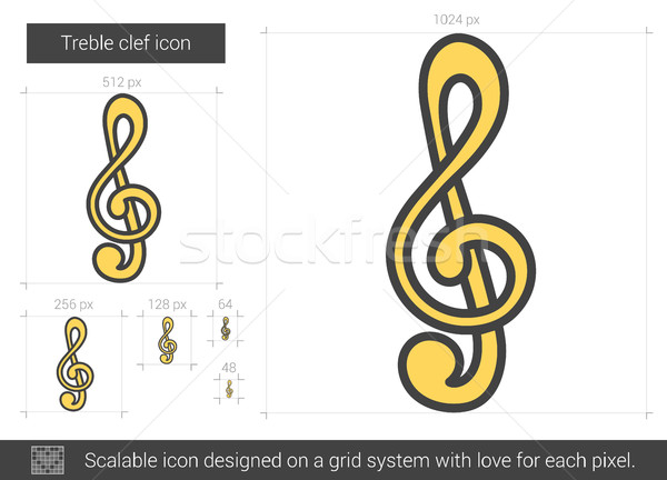 Treble clef line icon. Stock photo © RAStudio