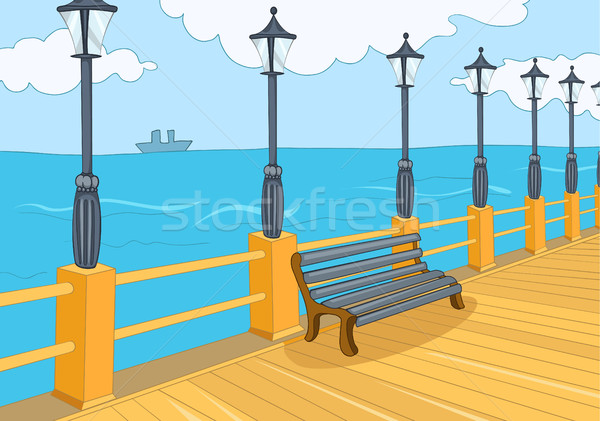 Cartoon background of embankment. Stock photo © RAStudio