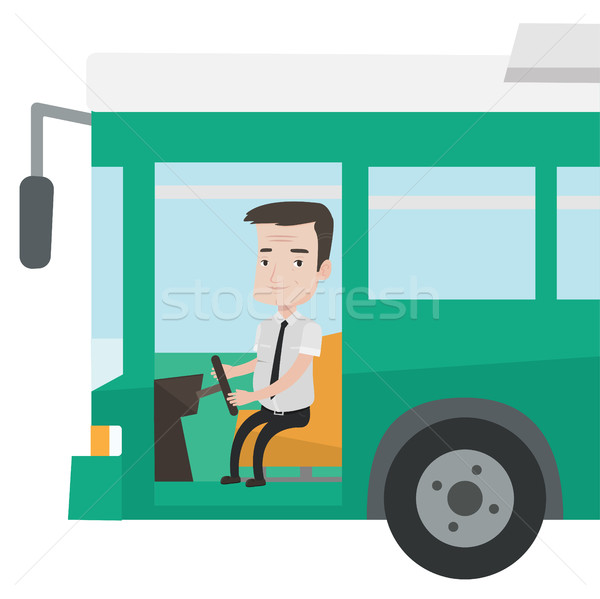Stok fotoğraf: Kafkas · otobüs · sürücü · oturma · direksiyon · gülen