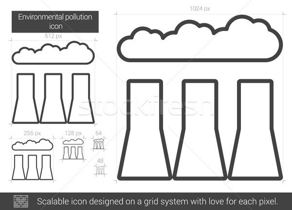 окружающий загрязнения линия икона вектора изолированный Сток-фото © RAStudio