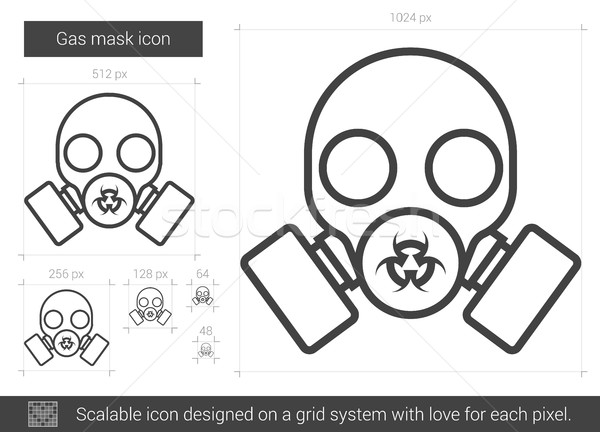 Gasmasker lijn icon vector geïsoleerd witte Stockfoto © RAStudio