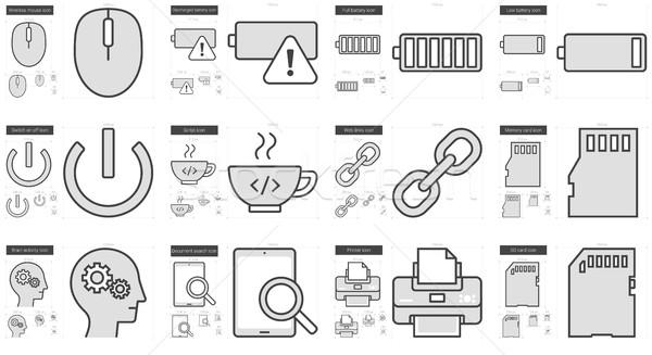 Stock fotó: Technológia · vonal · ikon · gyűjtemény · vektor · izolált · fehér