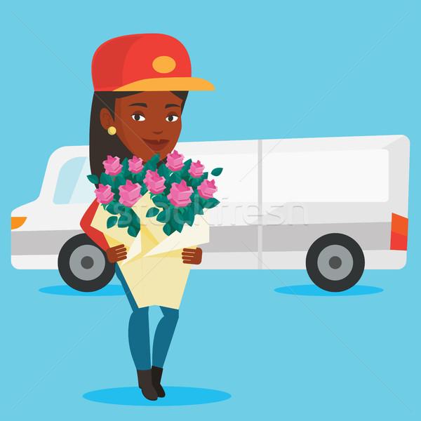 доставки курьер букет цветы грузовик Сток-фото © RAStudio