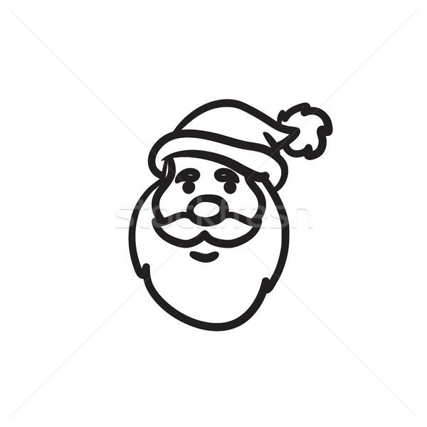 Stock photo: Santa Claus face sketch icon.