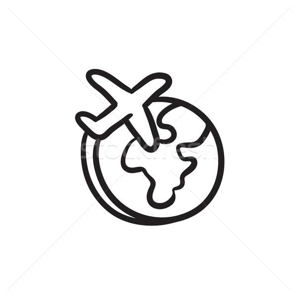 Name Of Logos Around The World >> Flugzeug · unter · herum · Welt · Skizze · Symbol - vektor-grafiken © Andrei Krauchuk (RAStudio ...