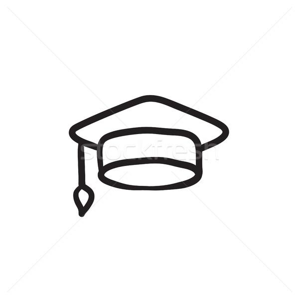 Graduation cap sketch icon. Stock photo © RAStudio