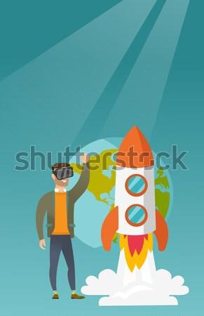 Stok fotoğraf: Adam · kulaklık · uçan · açmak · uzay · sanal
