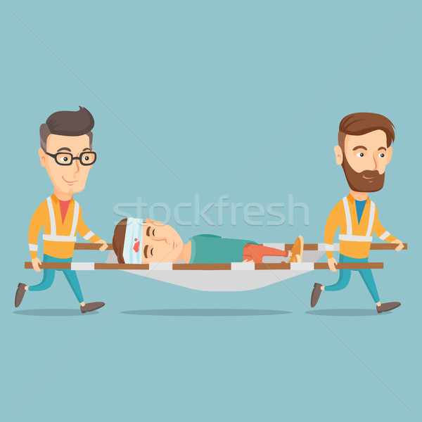 Stock fotó: Vészhelyzet · orvosok · hordoz · férfi · kaukázusi · áldozat