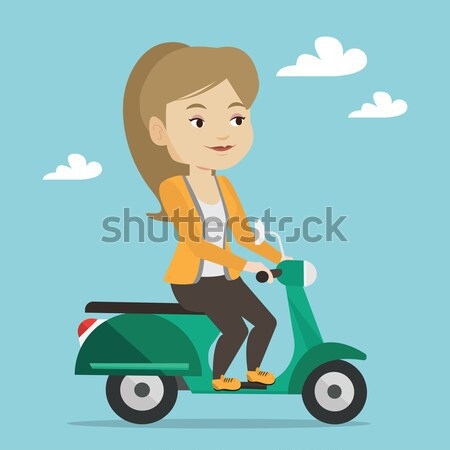 Woman riding scooter vector illustration. Stock photo © RAStudio