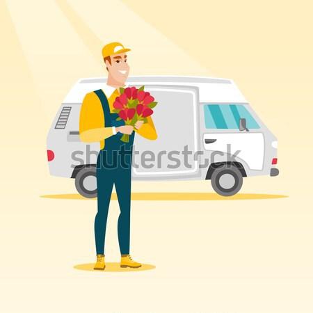 доставки курьер букет цветы кавказский Сток-фото © RAStudio