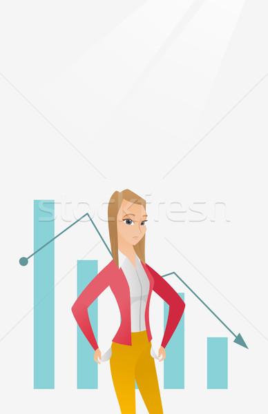 Bancrupt business woman vector illustration. Stock photo © RAStudio