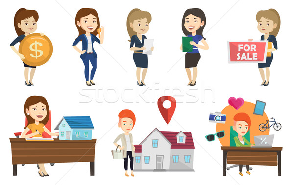 Vector set of real estate agents and house owners. Stock photo © RAStudio
