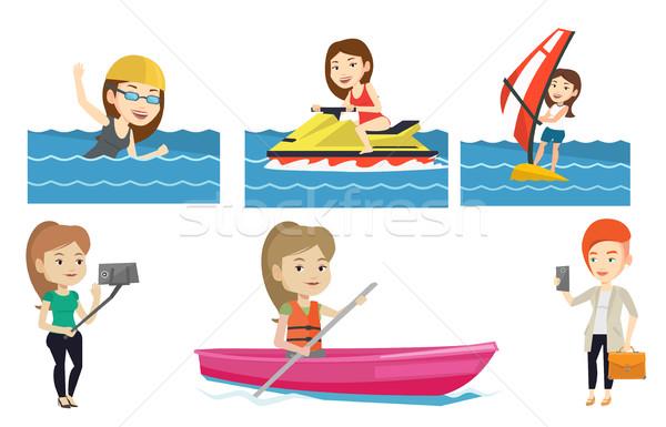Vetor conjunto esportes windsurf mar Foto stock © RAStudio