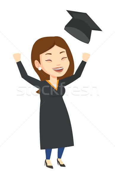 Mezun yukarı mezuniyet şapka heyecanlı Stok fotoğraf © RAStudio