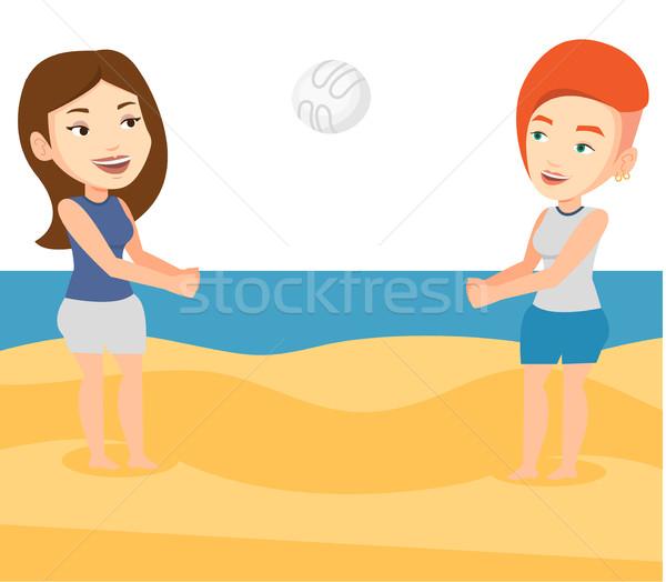 二人の女性 演奏 ビーチ バレーボール 小さな 白人 ストックフォト © RAStudio
