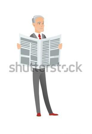 Chef cook reading newspaper vector illustration Stock photo © RAStudio