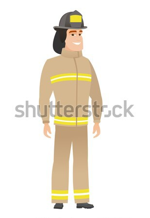 Young caucasian firefighter scratching his head. Stock photo © RAStudio