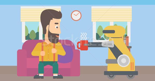 国内の ロボット カップ コーヒー 所有者 個人 ストックフォト © RAStudio