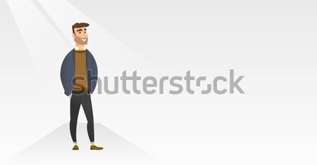 Young caucasian sick man sneezing. Stock photo © RAStudio