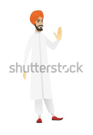 Businessman with open mouth pointing finger up. Stock photo © RAStudio