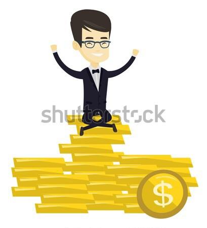 Stock fotó: Boldog · üzletember · ül · arany · érmék · derűs