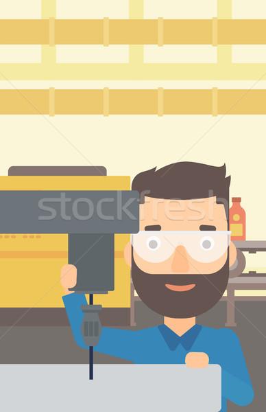 Man working with boring mill. Stock photo © RAStudio