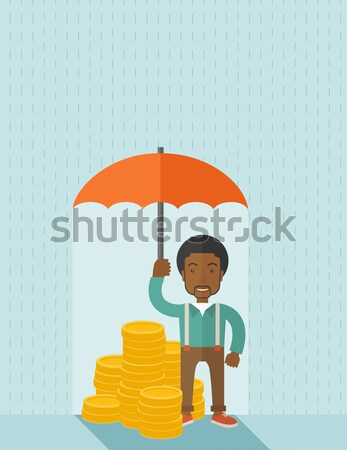 Businessman with umbrella protecting money. Stock photo © RAStudio