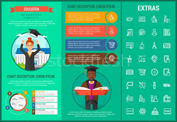 Educação modelo elementos ícones customizáveis Foto stock © RAStudio