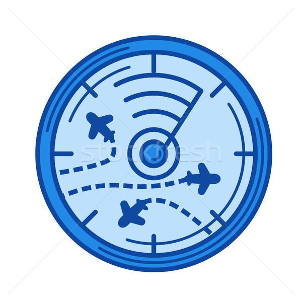 Repülés radar vonal ikon vektor izolált Stock fotó © RAStudio