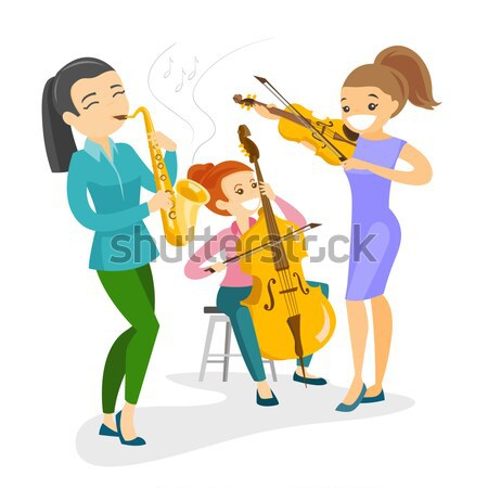 Young caucasian white woman playing the cello. Stock photo © RAStudio