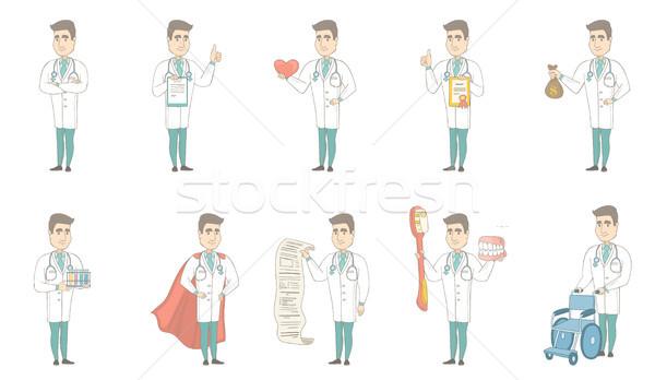 Young caucasian doctor vector illustrations set. Stock photo © RAStudio