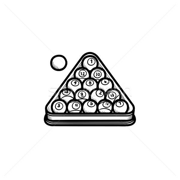 Biliárd fogas kézzel rajzolt rajz ikon skicc Stock fotó © RAStudio
