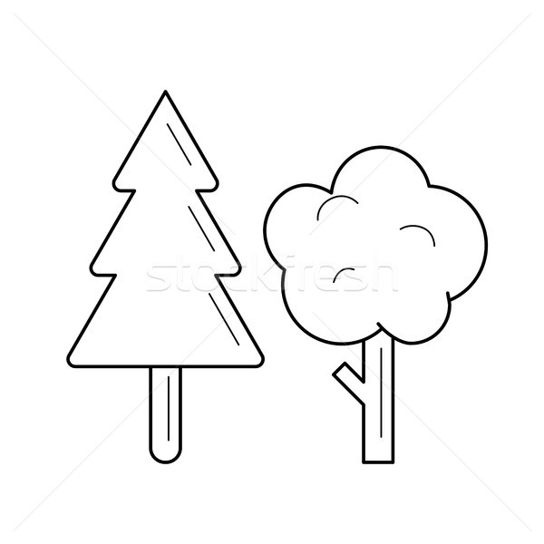 Stock photo: Forest vector line icon.