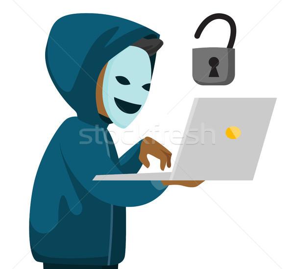 Hacker laptop maska człowiek Zdjęcia stock © RAStudio