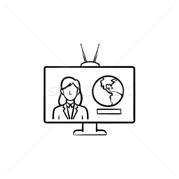 Photo stock: Tv · rapport · dessinés · à · la · main · doodle · icône