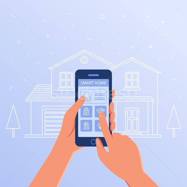Okostelefon okos otthon beállítások interfész ház Stock fotó © RAStudio