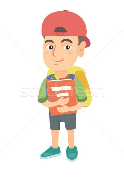 Kafkas öğrenci sırt çantası ders kitabı gülen mutlu Stok fotoğraf © RAStudio
