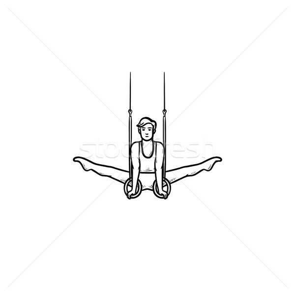 Gymnast on rings hand drawn outline doodle icon. Stock photo © RAStudio