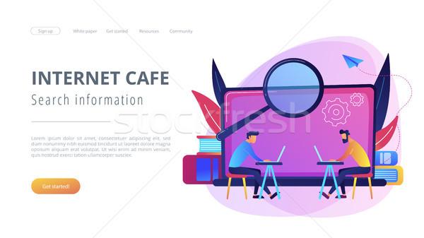 Zoek informatie internet cafe landing pagina Stockfoto © RAStudio
